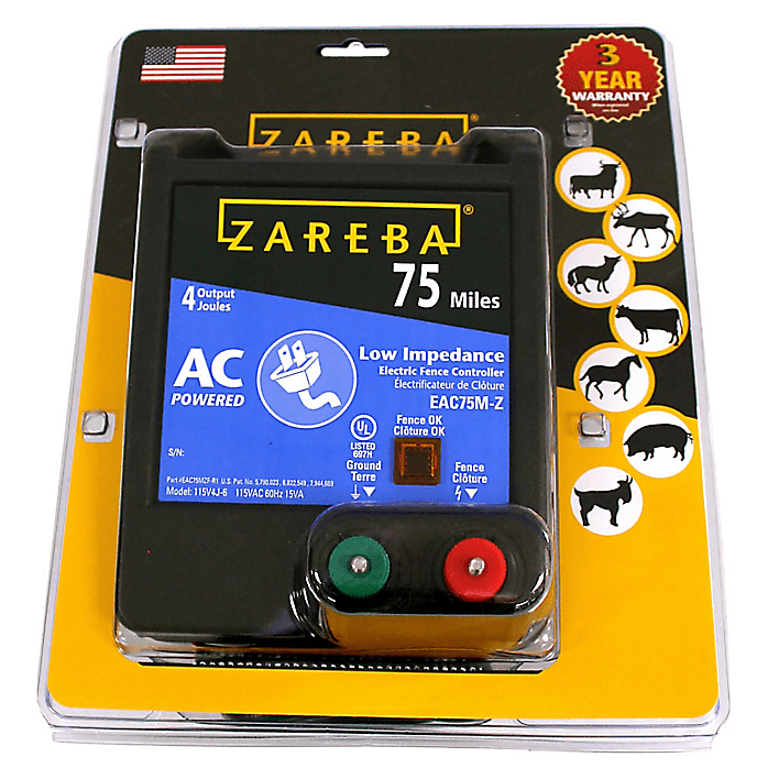 75 Mile AC Powered Low Impedance Electric Fence Charger